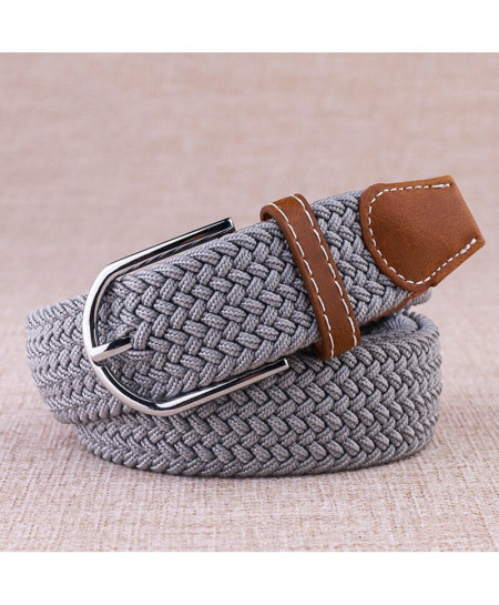 Noocuxuekon Gray Elastic Canvas Knitted Buckle Adjustable Belt