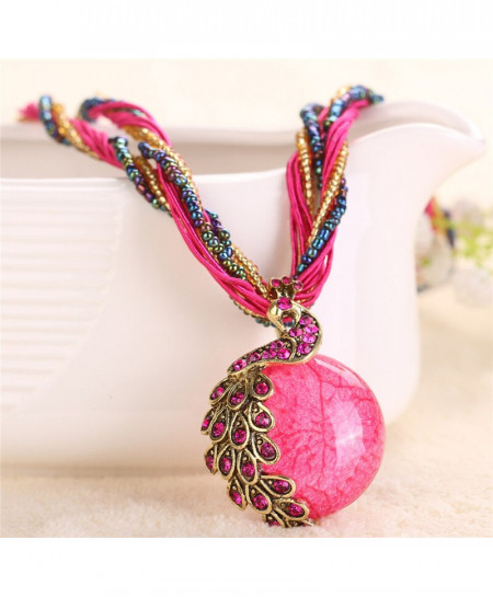 Boho Ethnic Peacock Style Rose Pink Necklace