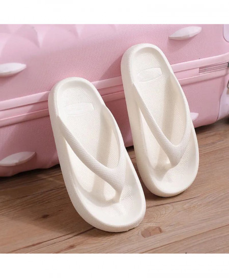RASS PLE White Thick Bottom Wedges Sea  Thong Flip-Flop