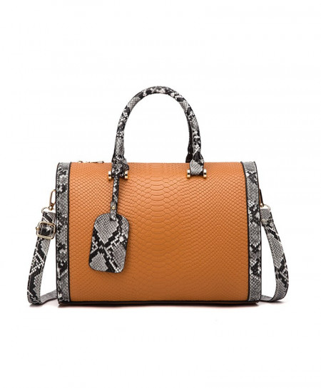JIAMEN Brown Serpentine PU Leather Designer Handbag