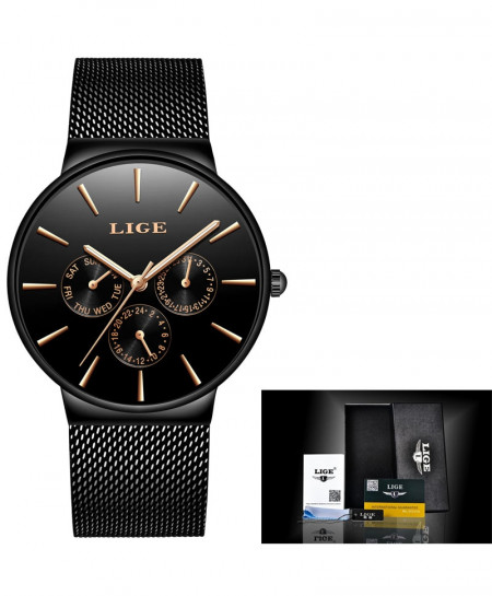 LIGE Super Slim Mesh Stainless Steel Quartz Ladies All Black Watch