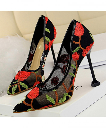 BIGTREE Red Mesh Hollow Floral Stiletto Extreme High Heels Pumps