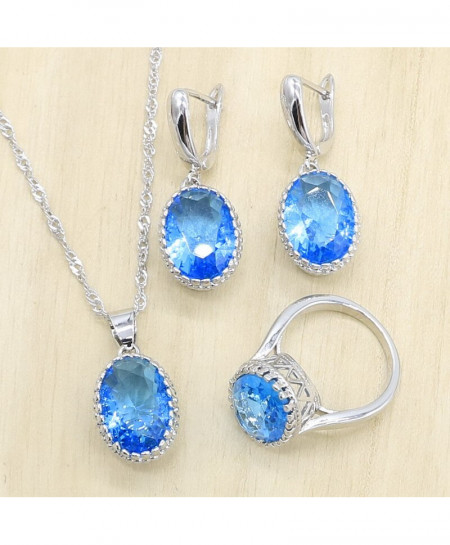 EIOLZJ Oval Sky Blue Crystal  Silver Color Jewelry Set