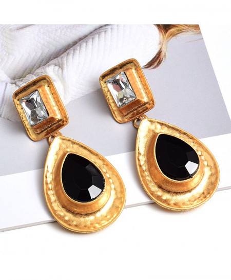 Black Rhinestone Gold Dangle Drop Earrings