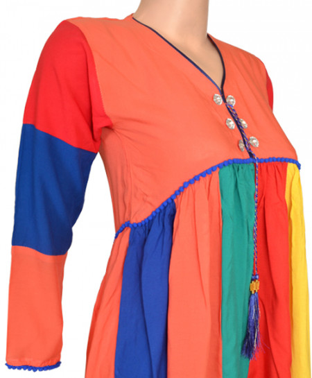 Burnt Orange Casual Kurta With Multi Colours Design For Girls