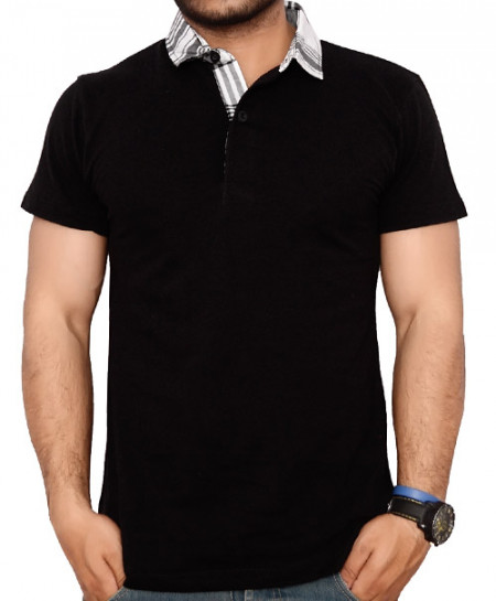 Checkered Collar Navy Blue Polo Shirt QZS-966