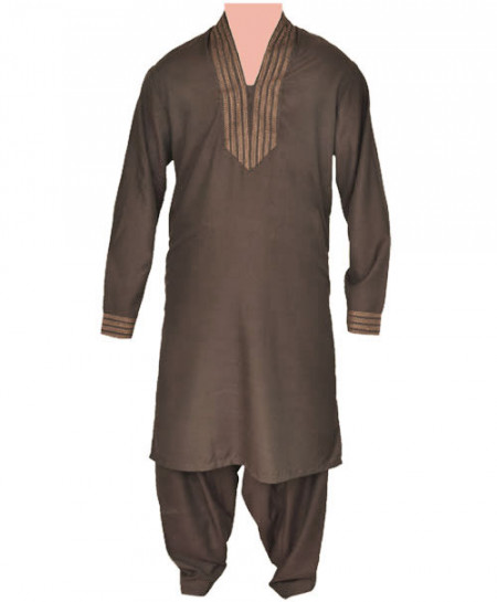 Junoon Collar Fashion Brown Men Kurta Shalwar