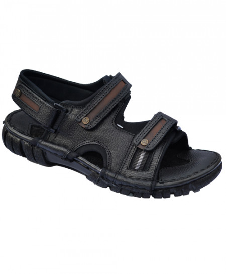 Modern Style Black Leather Casual Sandal LS-064