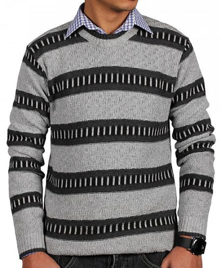 Grey Black Striper Full Sleeve Sweater MWS-051