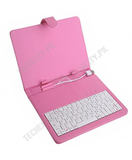 Pink Colour Keyboard Leather case for 7 inch Tablet PC