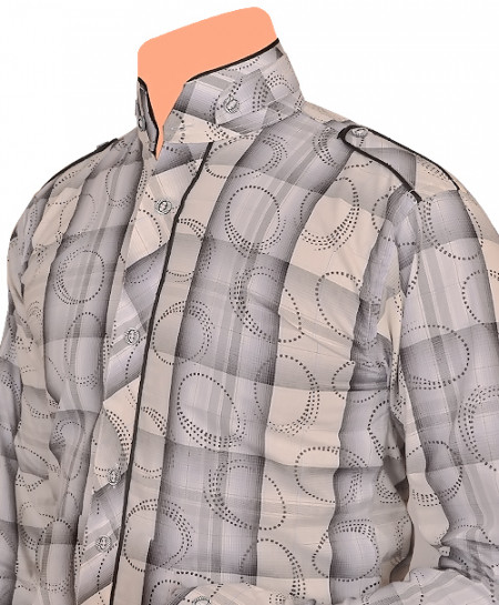 Silver Grey Designer Shirt For Boys