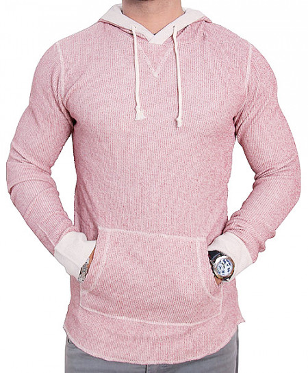 All-Son Reddish Pink Pullover Hoodie Sweatshirt