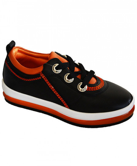 Black And Orange Long Ladies Shoes CS-1377
