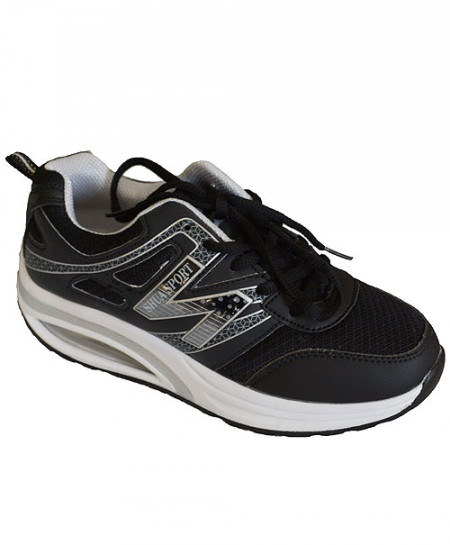 Black And White Ladies Sport Shoes CS-1376
