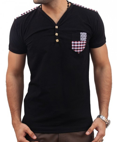 Black Checkered Pocket V-Neck Summer T-Shirt FS-1423