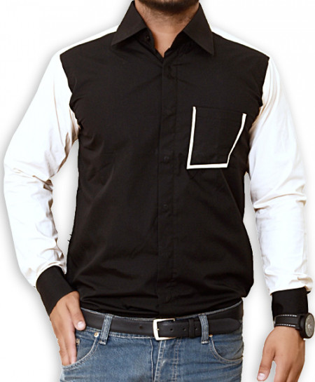 Black Designer Shirt With Beige Sleeves-3501