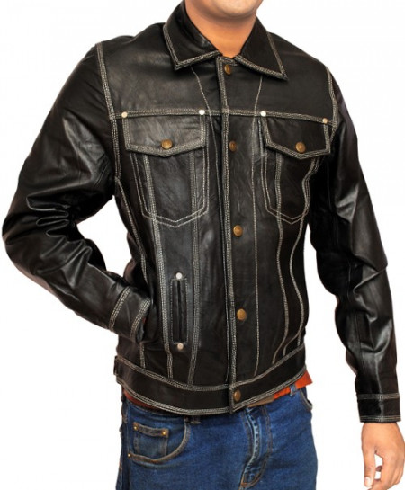 Black Front Double Pocket Leather Jacket