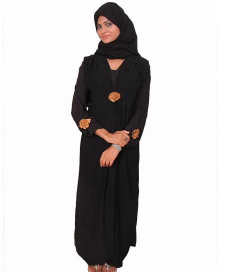 Black Jersey Brown Flower Bunch Abaya
