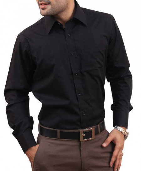 Plain Black Men Formal Shirt
