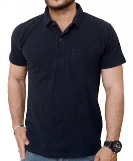 Black Polo Shirt With Front Pocket QZS-971
