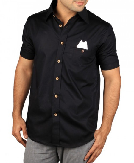 Black Short Sleeve Designer Shirt With White Patch