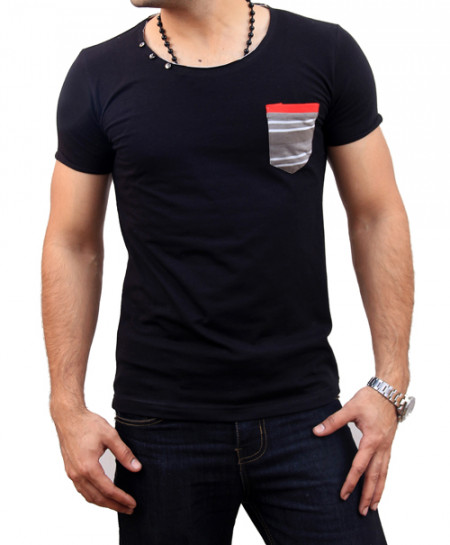 Black Round Neck Short Pocket T-Shirt FS-1427