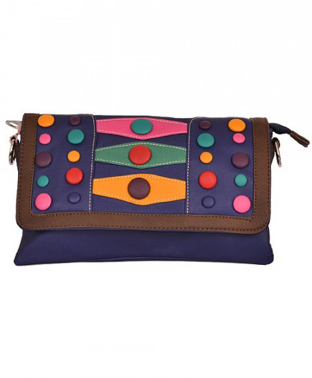 Blue Based Clutch With Multicolored Buttons In Brown Border