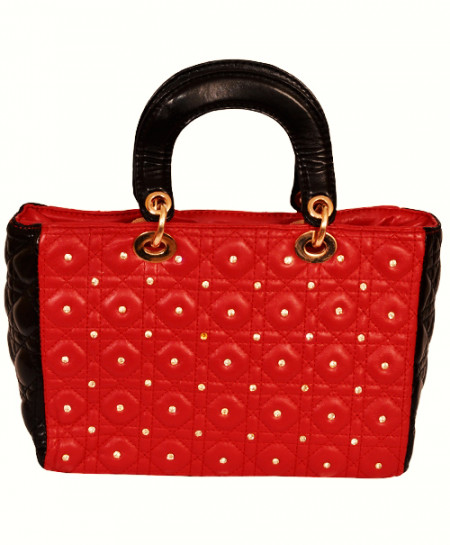 Christian Dior Red Black Handbag With Diamante