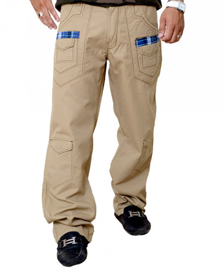 Coffee Brown Stylish Cargo Trouser With Checkered Pockets
