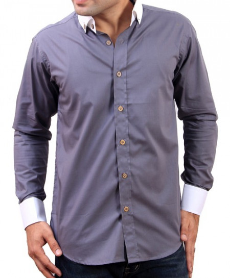 Dark Grey With White Contrast Collar Designer Shirt