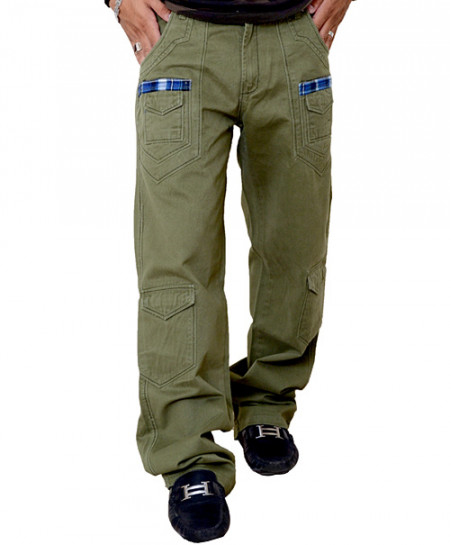 Dark Olive Green Stylish Cargo Trouser With Checkered Pockets