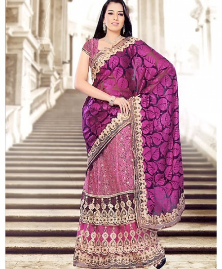 Devin Purple And Golden Embroidered Saree