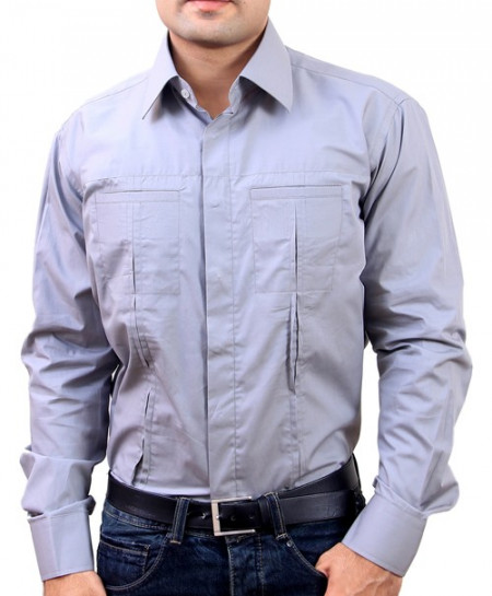 Dim Grey Double Pocket Designer Shirt