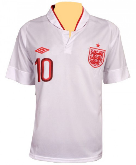 England Football White And Red Sports Shirt