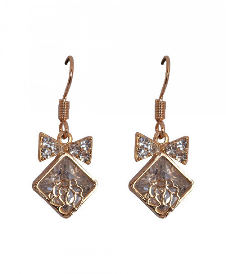 Golden Square Shape Earring With Bow And Diamond
