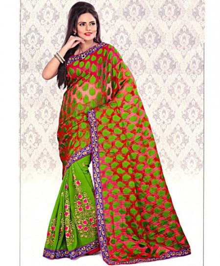 Zarish Green And Red Texture Embroidered Saree-4711