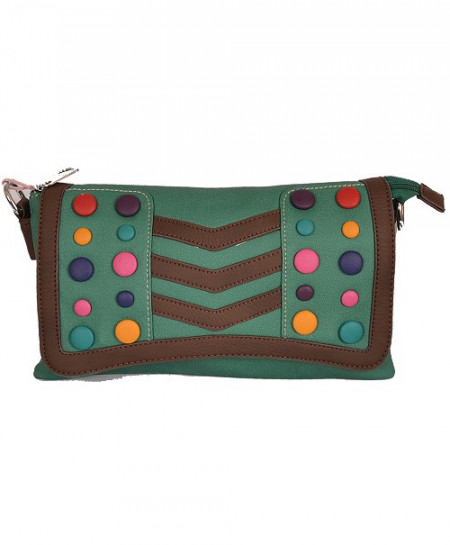 Green Based Clutch With Multicolored Buttons