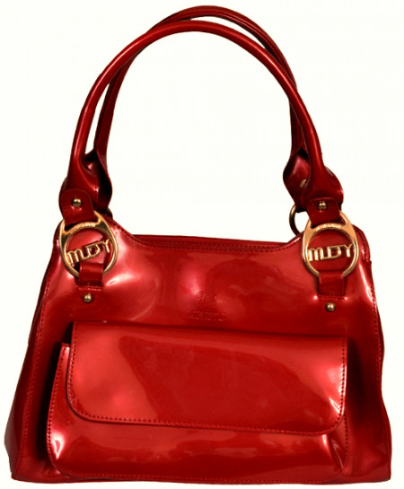 Lingyu Dazzling Red Handbag With Front Pocket