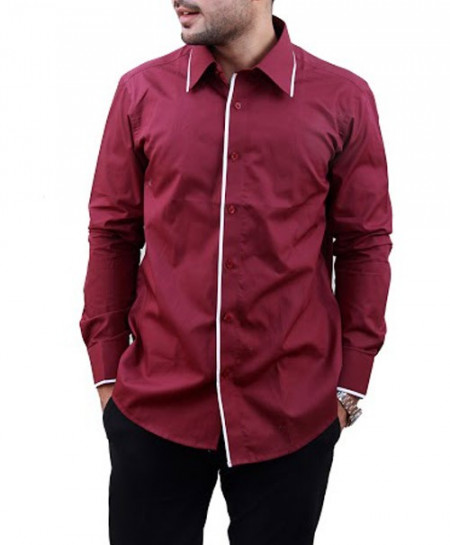 Maroon Designer Shirt With White Tipping Collar-3506