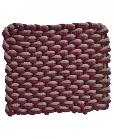 Maroon And Almond Polyester Door Mat Rope