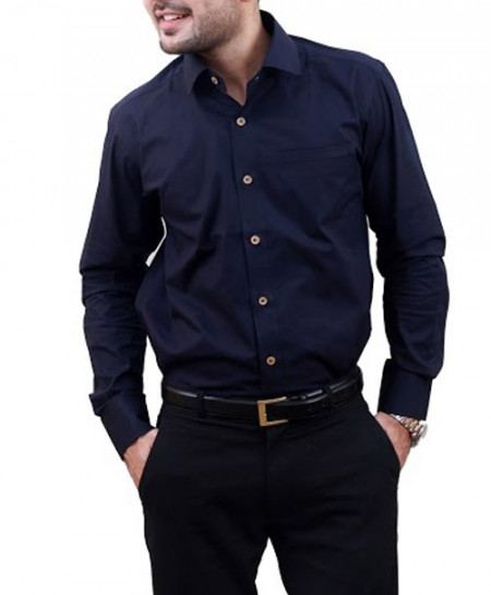 Navy Blue Unique Contrast Collar Designer Shirt-3531