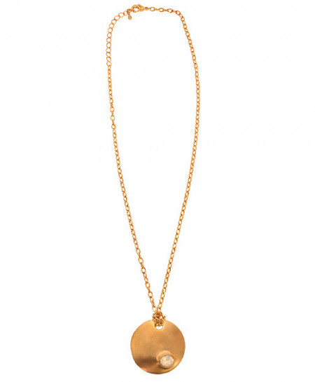 Plain Golden Rounded Diamond Pendant