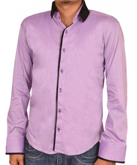 Tanzaib Purple Shirt With Black Contrast