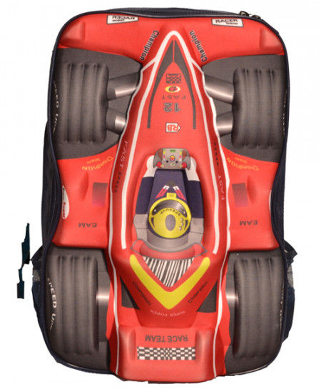 Racer Car Red Black School Backpack
