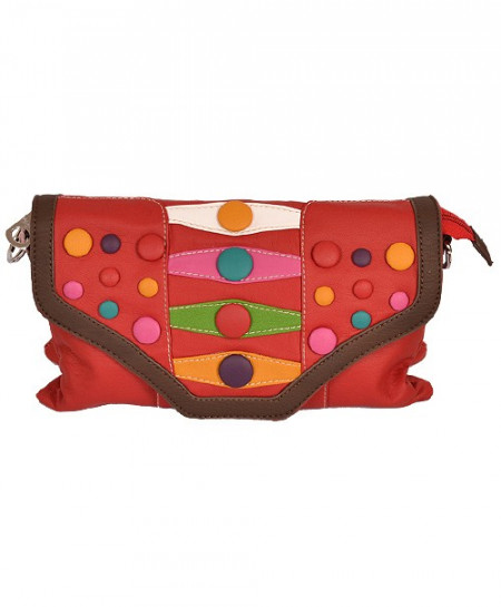 Red Based Clutch With Multicolored Buttons In Brown Border