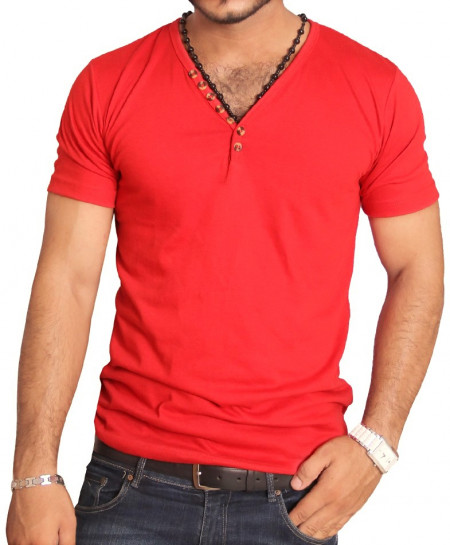 Red V-Neck Modern Style Designer T-Shirt