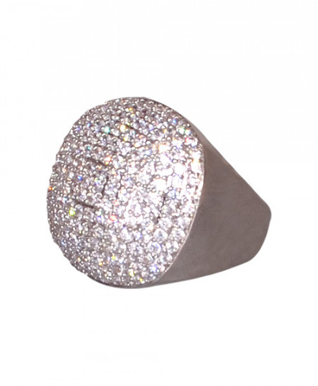 Rounded Diamante Silver Ring