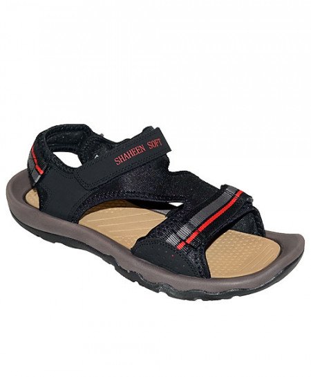 Shaheen Soft Black Three Strap Sandal SN-1424