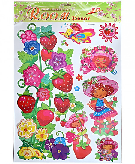 3 x Strawberry Shortcake Wall Stickers WZ-18007