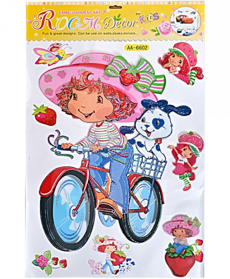 3 x Lets Go Ride A Bike Wall Stickers AA-6602